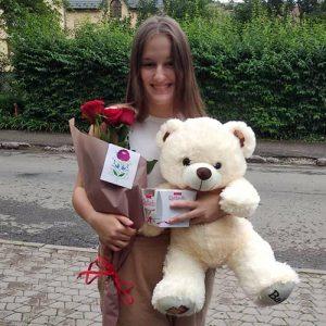 Мишка с букетом роз и raffaello в Бердянске фото