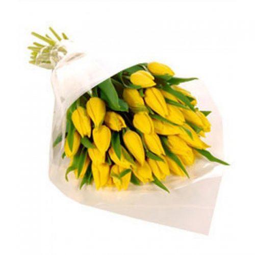 букет 25 желтых тюльпанов фото