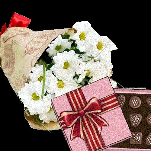 товар 3 хризантемы с конфетами