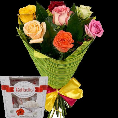 7 роз микс букет и коробка рафаэлло фото