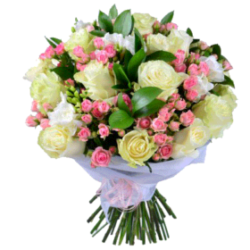 бело-розовый букет розы и кустовые розы