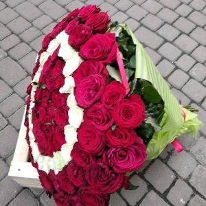 101 роза в виде сердца для свадьбы в Бердянске фото