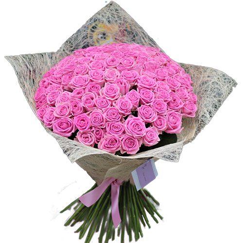 """букет 101 роза """"Аква"""""""