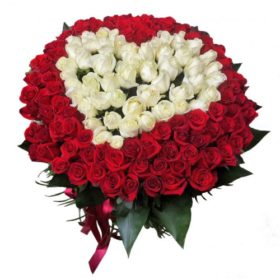 Сердце 101 роза белая, красная фото