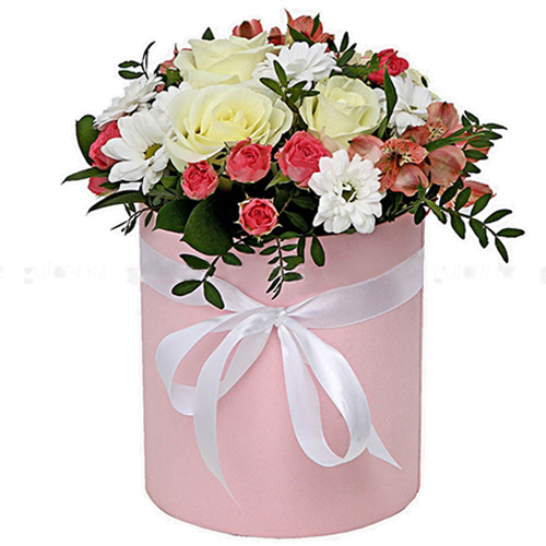 фото букета Шляпная коробочка «Розовая»