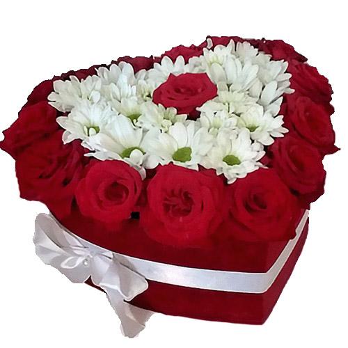 """Коробочка """"Воздушная любовь"""" розы и хризантемы"""