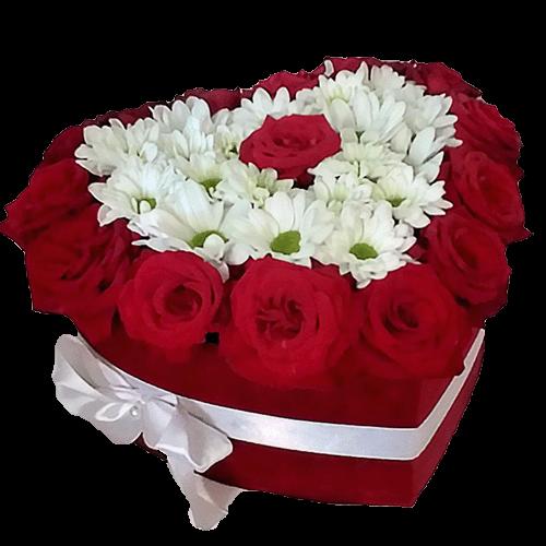 """Шляпная коробка """"Воздушная любовь"""" розы и хризантемы"""