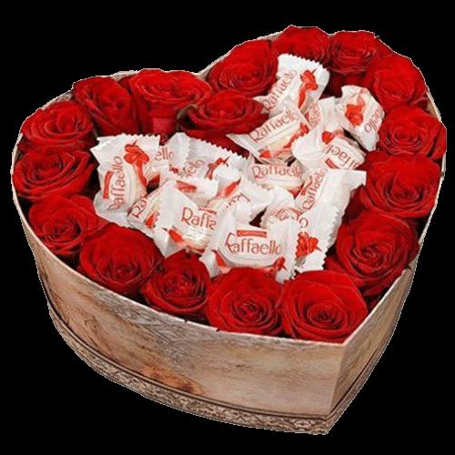 """Коробка """"Сладкое сердце"""" розы и Раффаэлло"""
