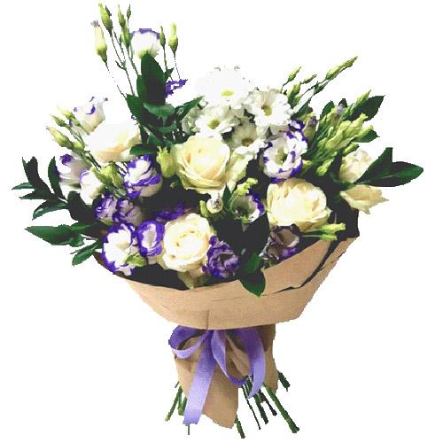 """Букет """"Искушение любовью"""" эустомы, розы, хризантемы"""