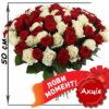 акционный букет 101 роза микс красная и белая