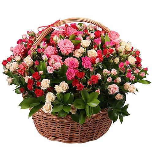101 кустовая роза в корзине с доставкой в Бердянске