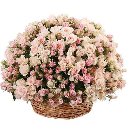 201 кустовая роза в корзине фото товара