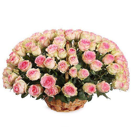 101 розовая роза в корзине фото букета