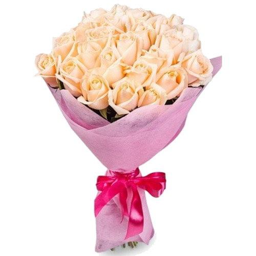 букет 25 кремовых роз