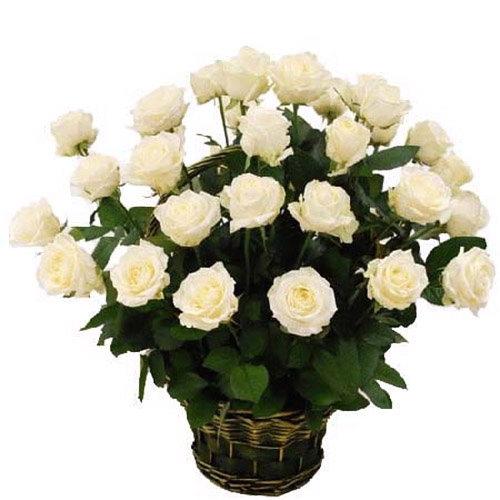 35 белых роз в корзине фото