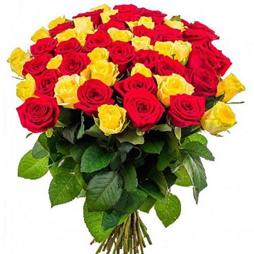 букет 51 роза красная и желтая