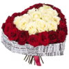 букет 51 роза сердцем фото