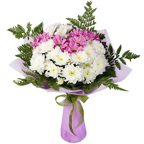 """Букет """"Солнышко"""" хризантемы белые и фиолетовые"""
