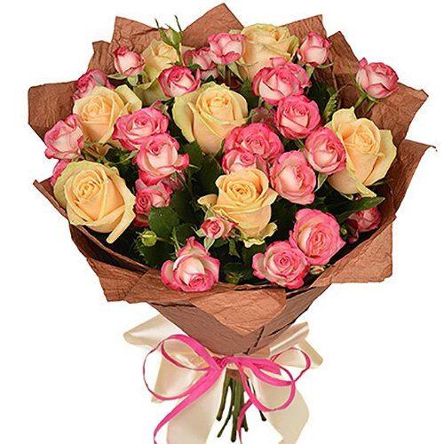 фото букета Кремовая роза и спрей