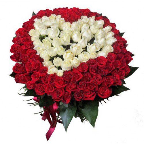 фото букета Сердце 101 роза белая, красная