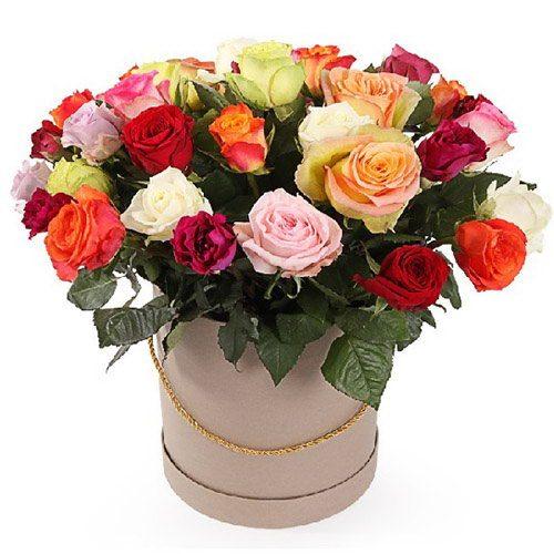 """Шляпная коробочка """"Фиеста"""" разноцветные розы"""