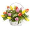15 тюльпанов в корзине фото товара