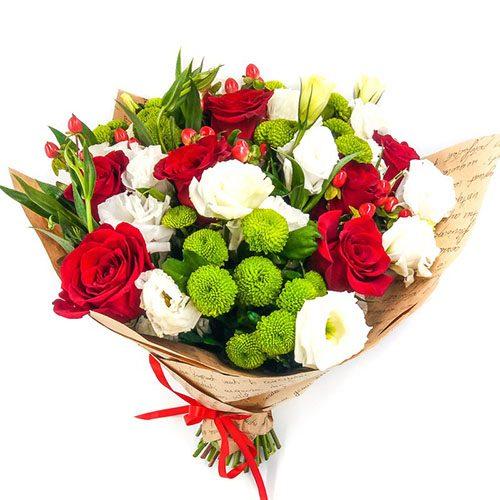 Букет «Глоток любви» розы, хризантемы, эустомы