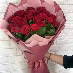 букет 25 червоних троянд у Бердянську фото