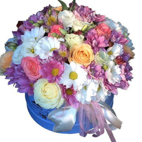 """""""Ангелочек"""" шляпная коробка микс цветов"""