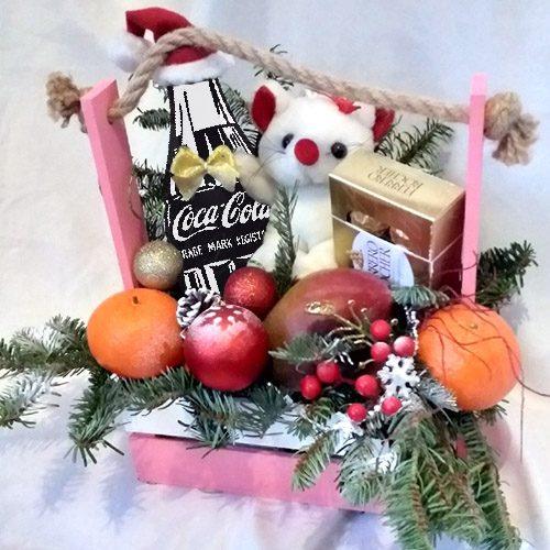 """Ящик """"С Новым годом"""" фрукты, конфеты, игрушка, Кока-кола"""