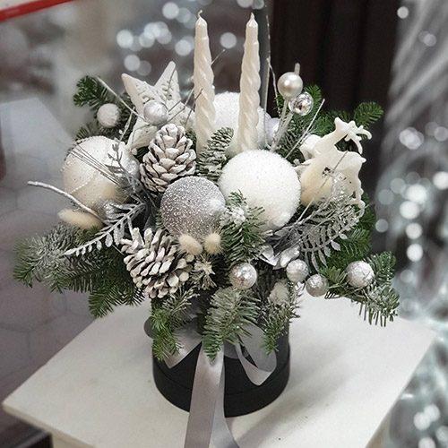 """Коробка """"Снежинка"""" новогодний декор, свеча, хвоя"""