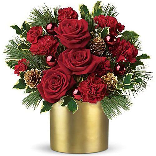 """Коробка """"Зимняя роза"""" розы и новогодний декор"""