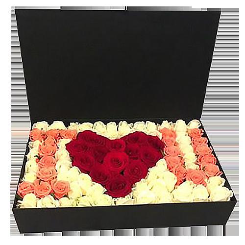 """Фото товара 101 роза в коробке """"I love you"""""""