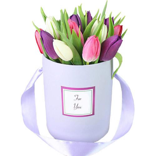 """Шляпная коробка ассорти """"Фиолет"""" (15 тюльпанов ) фото"""