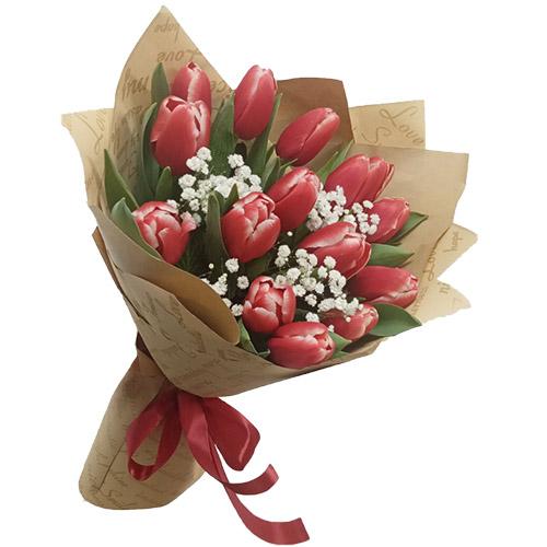 15 тюльпанов с декоративной хризантемой фото