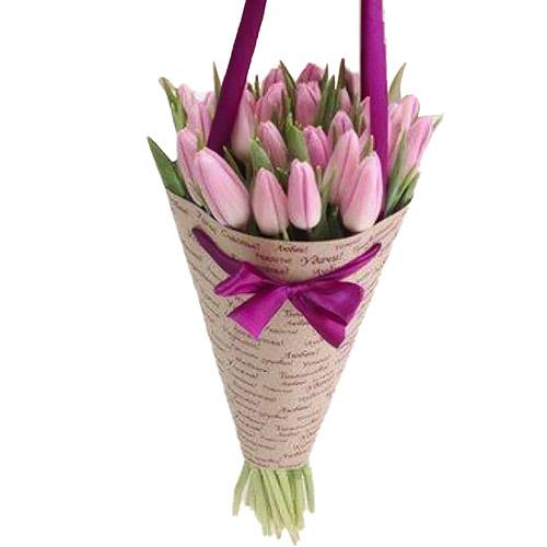 25 нежно-розовых тюльпанов фото