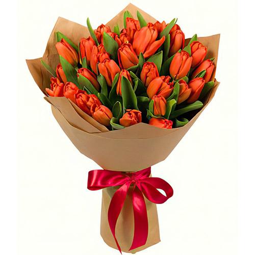31 маковый тюльпан в крафт упаковке