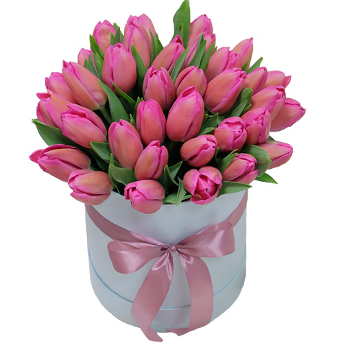 "Шляпная коробка ""Барби"" (35 ярко-розовых тюльпанов) фото"