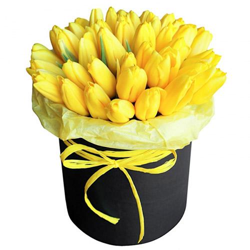 букет 35 жёлтых тюльпанов