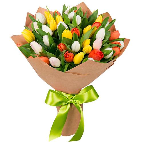 35 тюльпанов микс (красный, белый, жёлтый)