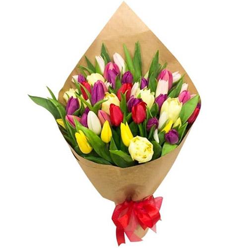 """45 тюльпанов """"Драже"""" (белый, жёлтый, красный, пурпурный и пионовидный) фото"""