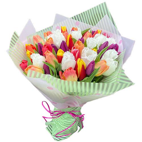 """45 тюльпанов """"Махровый микс"""" фото"""