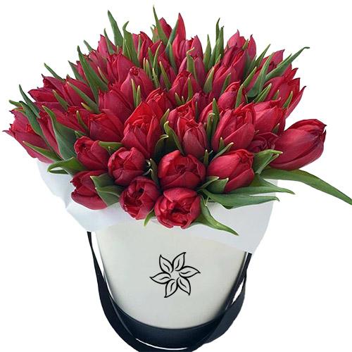 45 алых тюльпанов в шляпной коробке фото