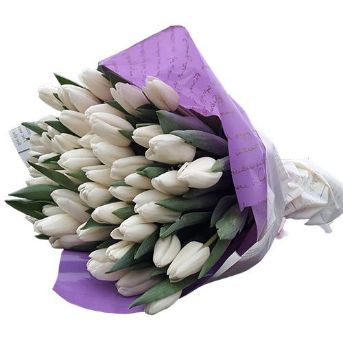 """45 белых тюльпанов """"Ангел мой"""" фото"""