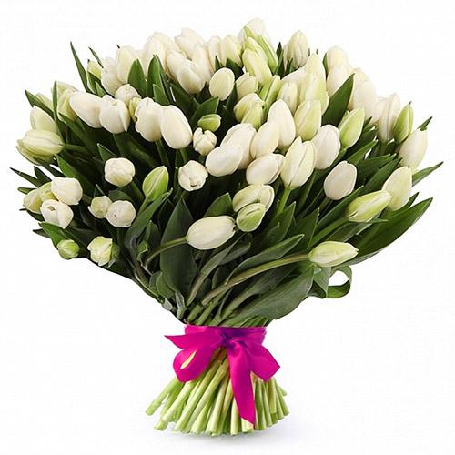 """51 белый тюльпан с лентой """"Джульетта"""" фото"""