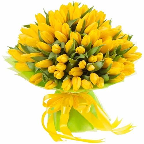 """75 жёлтых тюльпанов """"Сияние золота"""" фото"""