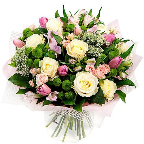 """Букет """"Нефритовый цветок"""" розы, тюльпаны, хризантемы"""