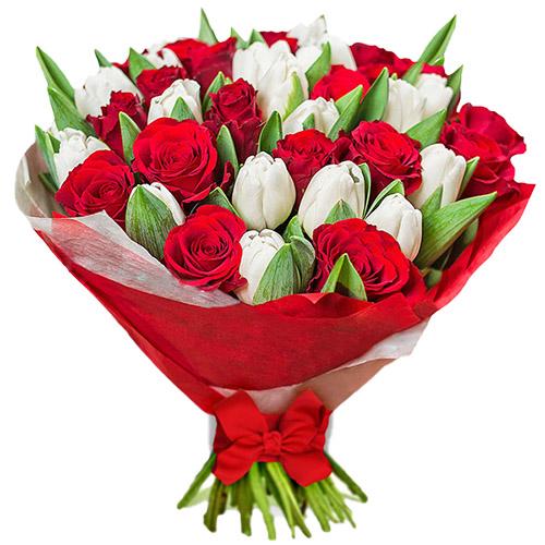 """Букет """"Безупречность"""" (красные розы, белые тюльпаны) фото"""