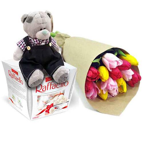 """Подарок """"Три желания"""" тюльпаны, плюшевый мишка и коробка конфет"""