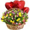 """Подарок """"Трепетная любовь"""" (75 тюльпанов в корзине и шарики) фото подарка"""